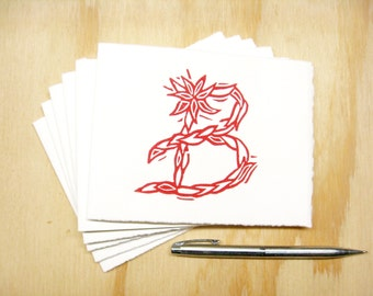 Letter B Stationery - Set of 6 Block Printed Cards - Choose Your Color - Personalized Gift - MADE TO ORDER