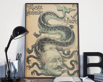 CIRCUS POSTER - FREAKSHOW Illustration, Half Snake Half Man Vintage Art Print from 1899, Reproduction
