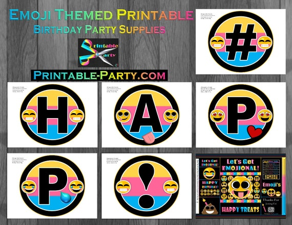 Printable Emoji Birthday Party Decorations And Theme Supplies By