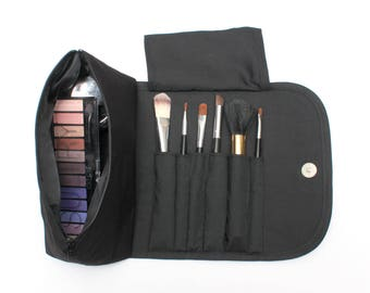 Black Obsessed Large Makeup Bag with a Brush Holder Roll and Magnetic Button!