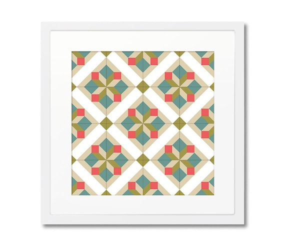 Modernist Framed Art, Geometric Wall Decor, Wood Frame, Barcelona Tiles, Wall Decoration, Home Decorating