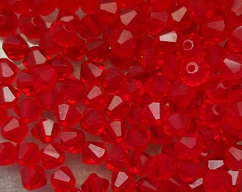 Swarovski 4mm Bicone Faceted Crystal Beads - LIGHT SIAM - Select 10, 20, 50 or 100