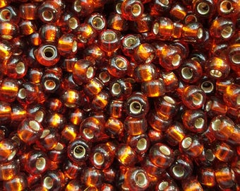 Japanese E Seed Beads 5/0 - Silver Lined Root Beer 05-135S - 20g