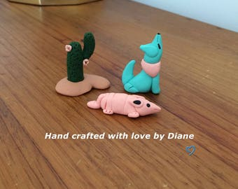Polymer clay Miniature Hand Crafted Southwestern Figurines  Coyote Armadillo Cactus