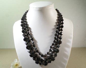 Beautiful Vintage Triple Strand Black Glass Beaded Choker Necklace  DL#2392