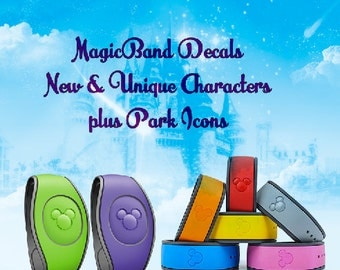 Listing 2 Magic Band Character Decals, Glitter and Solid Colors