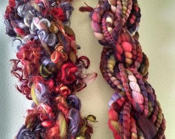 Handspun Art Yarn - Art Yarn - Lockspun - Luxury Yarn - Teeswater Locks - Textured Yarn - Fiberart - Bulky Yarn - Doll Hair - OOAK Yarn