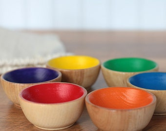 Sorting Toy, Mini Wooden Bowl Set, Rainbow Bowls, Wooden Toy, Waldorf Toy, Montessori Learning, Sorting Bowl, Natural toy, simple toy