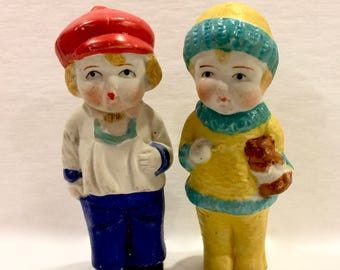Vintage Bisque Dolls, Set of 2, Boy and Girl Dolls, Porcelain Frozen Charlotte, Penny Doll, 3 1/2 inches Tall, Made in Japan, Circa 1930s