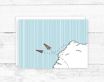 Hand Drawn Notecard - Paper Plane Greeting Card - Illustrated Stationary - Blank Note Card