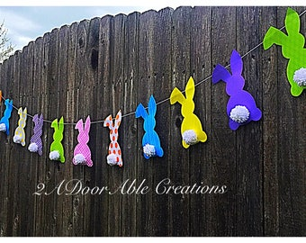Easter bunny banner with fluffy yarn tails