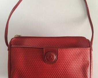 Vintage 80s Lipstick Red Liz Claiborne Monogram Crossbody Handbag