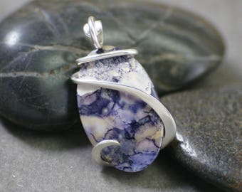 Tiffany Stone/ Bertrandite Oval Cold Forged Sterling Silver Pendant