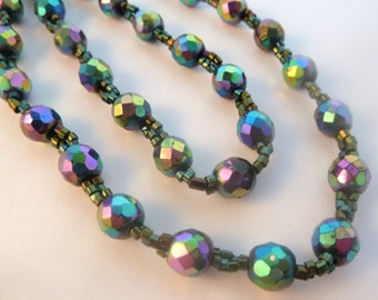 Vintage Long Carnival Glass And Seed Bead Necklace.