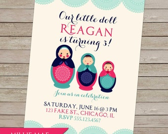 SALE 25% OFF Custom Matryoshka / Babushka Nesting Doll Invitation - Birthday Party Invitation
