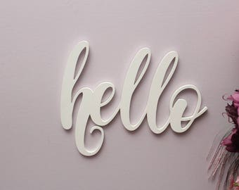 Hello Wood Sign, Hello Greeting Wooden Sign, Hostess Gift, Housewarming Gift, Laser Cut Wood Sign, Cursive Wood, Home Decor, Gift for Home