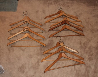 Set of 12 Plain Assorted Wood / Wooden Hangers