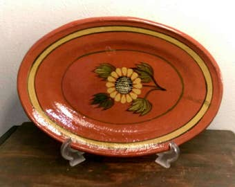 Vintage Mexican Terracotta Sunflower Plater