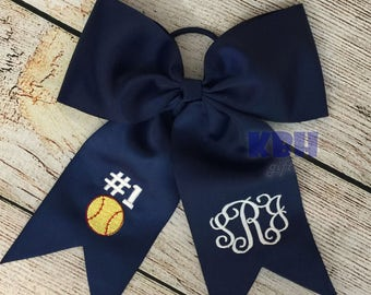 Embroidered Softball Bow for Hair