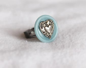 Silver Heart Blue Button Adjustable Ring