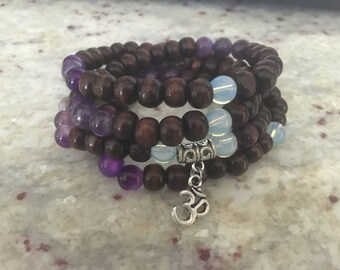 108 Wrist Wrap Mala Stretch, Accented with OM Charm, Amethyst and Moontones.  Boho Chic.