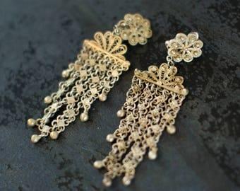 Vintage Art Nouveau Silver Chandelier Earrings