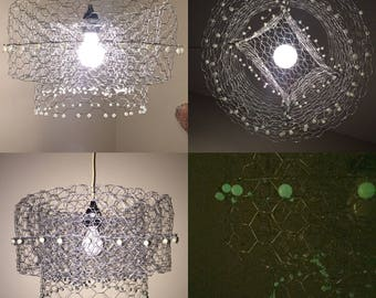 Pendant/ hanging lamp/ chandelier handmade w/chicken wire and glow in the dark beads