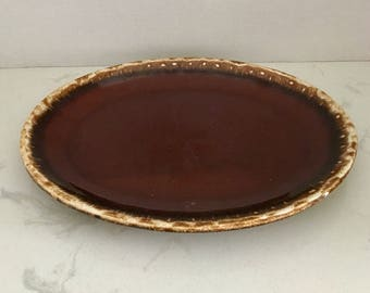 HP Co Brown Drip Serving Platter 12""
