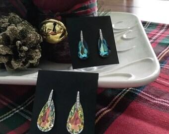 Large swarovski crystal silver earrings