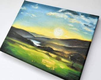 ORIGINAL Oil Painting - Dark Landscape Sunrise on Canvas 18cm x 24cm
