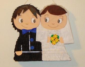 Bride and Groom pinata. wedding pinata. anniversary pinata.