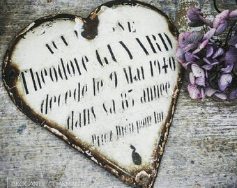 RARE: Old Memorial heart / plaque France