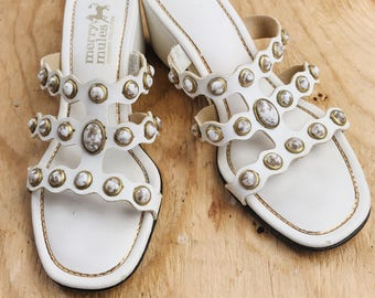 VINTAGE Deadstock MINAMILIST Merry Mules Strappy Sandals    White MARBLE Stones   
