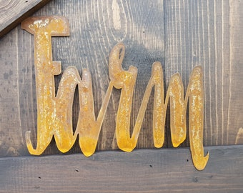 Farm, Word Signs, Metal Word Sign, Farmhouse Decor, Rustic Home Decor, Rustic Metal Sign, Farmhouse Sign, Country Sign, Vintage style