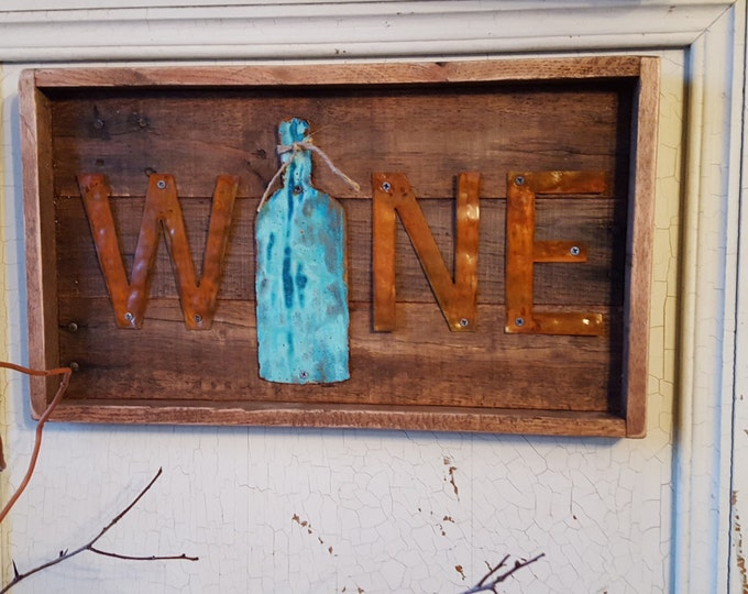 Rustic Wall Decor, Wine Decor, Pallet Board Sign, Wooden Sign, Fixer Upper Home Decor, Kitchen Decor, Metal sign, Wine signs, Farmhouse sign