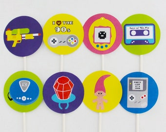 90s Cupcake Toppers, 90s Cake Topper, 90s Party Decorations Printable | INSTANT DOWNLOAD