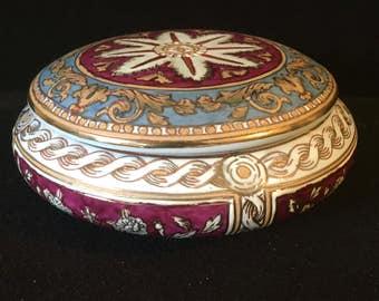 Large Vintage Ceramic Trinket Powder Jar Mid Century Art Deco Boudoir Elegance