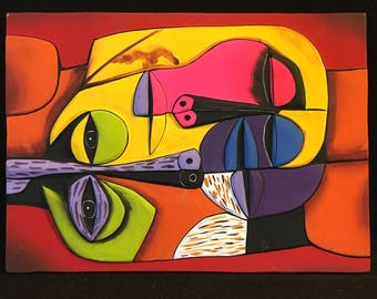Neon Modernist Picassoesque Faces Painted Terra Cotta Wall Art