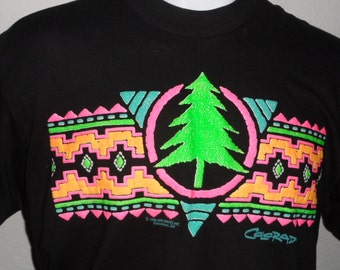 Vintage Original 1990s 1990 COLORADO Neon Pine Trees Design Tourist Soft Black T Shirt L