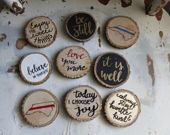 wood slice magnets- wood slice- custom magnets- wood decor