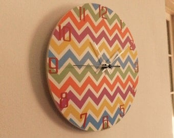 Modern coloured wall clock,  kids room  coloured, zigzag, Housewares, nurcery wall clock, gift for boys or girls,  animal wall clock
