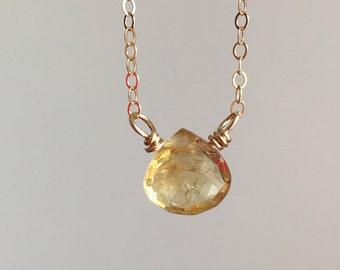 Citrine Necklace  - Citrine Jewelry - Citrine - Gemstone Necklace  - Gift For Mom - Citrine Pendant - November Birthstone - Dainty Necklace
