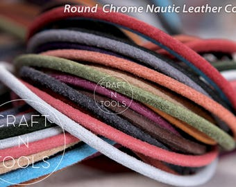 Leather Cord Round Chrome Nautic 3.0mm/Natural Leather/Licorice Cord/Regaliz Leather/Cuff Cord/Leather Cording/Round Cord/Nautic Cord