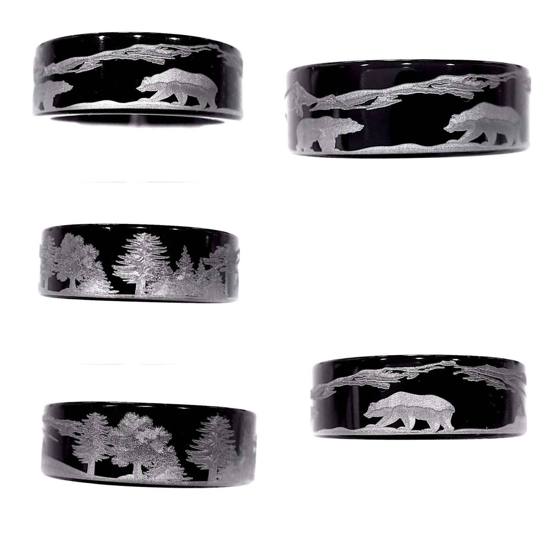Bears In Mountains Forest Landscape Black Tungsten Wedding