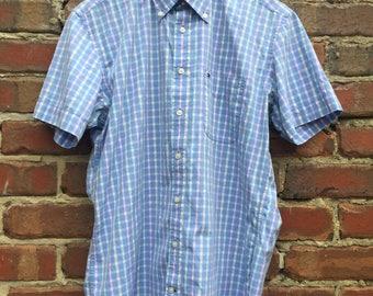 Men's Tommy Hilfiger Short Sleeve Shirt  Light Blue Check Size Medium