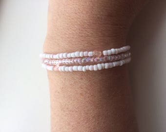 Set of Three Handmade Stretch Bracelets White with hints of Pink