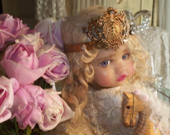 Vintage Style Angel Filigree Crown 1800s Replica, worn by Corinne Layton OOAK Sculpy Doll Vintage Olivia *Not Included