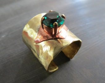 BRASS GEM BAND ring - brass band ring with green swarovski crystal and copper - wide cuff ring - brass ring - abstract steampunk band ring