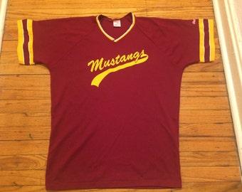 Vintage Rawlings Mustangs Baseball Jersey Shirt