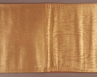 Beautiful Japanese Vintage Fukuro Woven Silk Obi, Gold Silk Woven Wood Grain Faux Bois Pattern Design, Excellent, Showa, Kimono